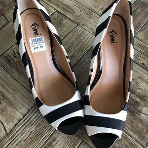 Black & white striped heels